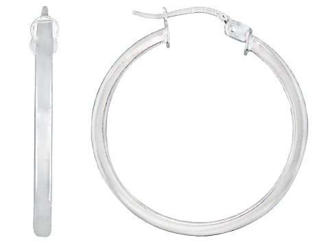 Polished Sterling Silver Square Tube Hoop Earrings