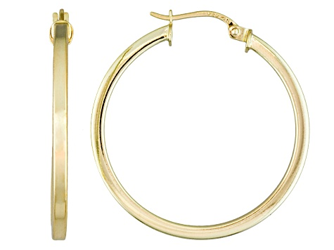 Polished 18k Yellow Gold Over Sterling Silver Square Tube Hoop Earrings