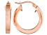 Polished 18k Rose Gold Over Sterling Silver Square Tube  Hoop Earrings