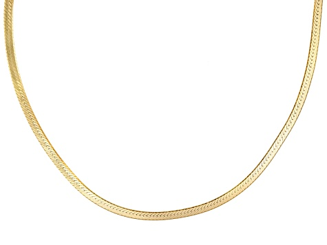 18k Yellow Gold Over Sterling Silver Herringbone Link Chain 18 inch