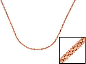 18k Rose Gold Over Sterling Silver Popcorn Chain 18 inch