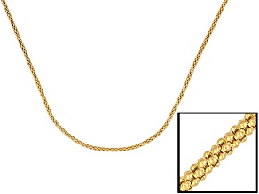 18k Yellow Gold Over Sterling Silver Popcorn Chain 36 inch