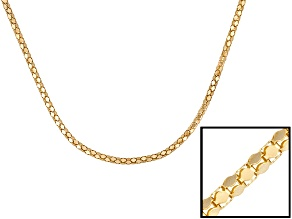 18k Yellow Gold Over Sterling Silver Popcorn Link Chain 18 inch