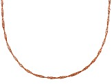 18k Rose Gold Over Sterling Silver Singapore Link Chain 24 inch