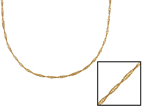 Singapore Link 18k Yellow Gold Over Sterling Silver 24 inch Chain     Made in Italy