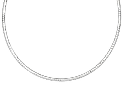 3mm Sterling Silver 18 inch Omega Necklace    Made in Italy