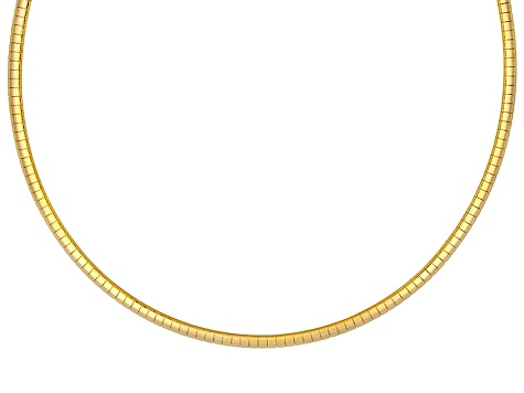 3mm 18k Yellow Gold Over Sterling Silver 18 inch Omega Necklace           Made in Italy