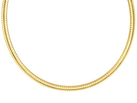 4mm 18k Yellow Gold Over Sterling Silver 18 inch Omega Necklace       Made in Italy