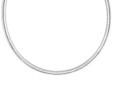 6mm Sterling Silver 18 inch Omega Necklace  Made in Italy