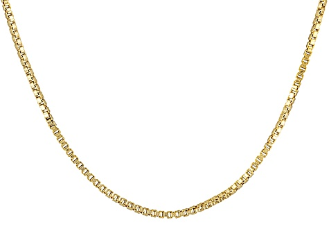 18k Yellow Gold Over Sterling Silver Box Chain 18 inch