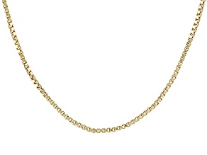 18k Yellow Gold Over Sterling Silver Box Chain 36 inch