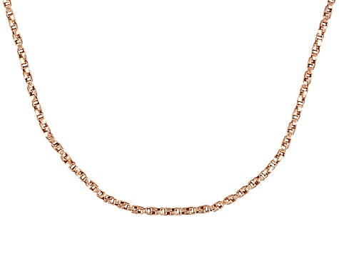 18k Rose Gold Over Sterling Silver Twisted Box Link Chain 18 inch