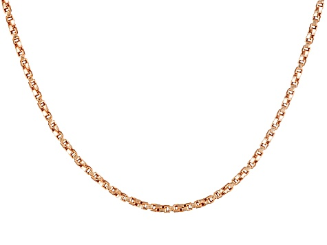 18k Rose Gold Over Sterling Silver Twisted Box Link Chain 24 inch