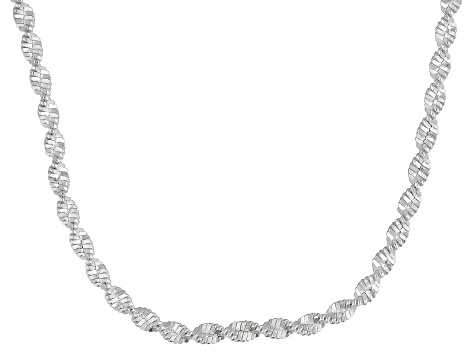 Sterling Silver Twisted Herringbone Chain Necklace 18 inch