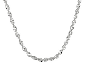 Sterling Silver Twisted Herringbone Chain Necklace 24 inch