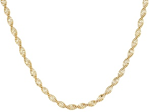 18k Yellow Gold Over Sterling Silver Twisted Herringbone Chain 36 inch