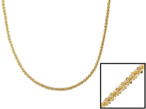 18k Yellow Gold Over Sterling Silver Swisted Diamond Cut Chain 24 inch