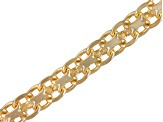 18k Yellow Gold Over Sterling Silver Bismark Link Chain 18 inch