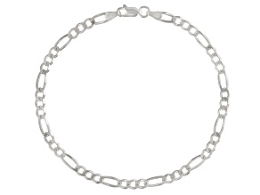 Figaro Link Sterling Silver 9 inch Anklet     Made in Italy