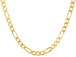 18k Yellow Gold Over Sterling Silver Figaro Link Chain 24 inch