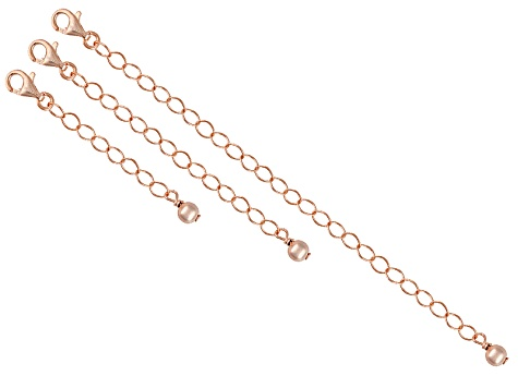18k Rose Gold Over Sterling Silver 1, 2, And 4 inch Extender Set Of 3