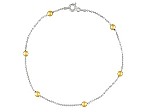 Beaded Station Chain 18k Yellow Gold Over Sterling Silver Anklet
