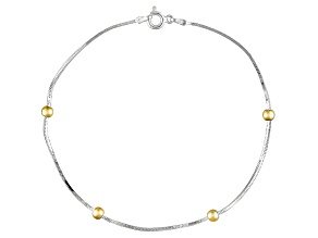Beaded Flat Snake Chain 18k Yellow Gold Over Sterling Silver Anklet