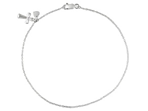 Sterling Silver Rolo Chain With Cross And Heart Charm Anklet