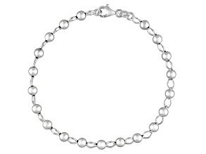 Polished Bead Station Sterling Silver Anklet