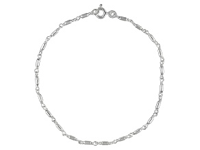 Round Bar Chain Italian Sterling Silver Anklet