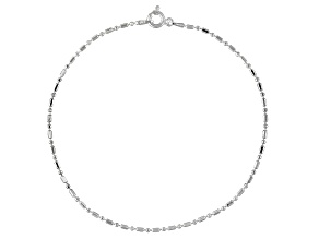 Bar And Bead Italian Sterling Silver Anklet
