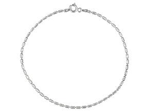 Diamond Cut Oval Bead Italian Sterling Silver Anklet