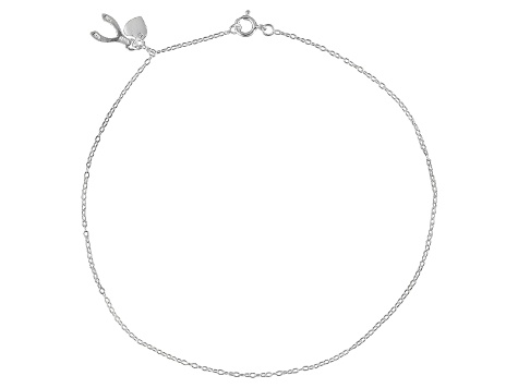 Rolo Chain With Wishbone And Heart Charm Sterling Silver Anklet
