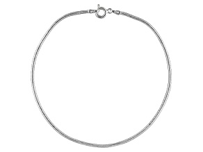 Round Snake Link Italian Sterling Silver Anklet
