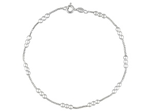 Loop Chain Bead Station Italian Sterling Silver Anklet