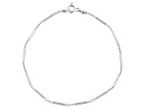 Bar And Bead Chain Italian Sterling Silver Anklet