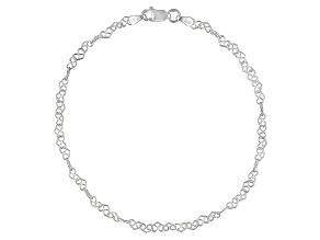 Heart Design Italian Sterling Silver Anklet