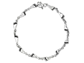 Footprints Italian Sterling Silver Anklet