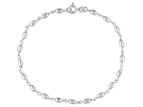 Polished Oval Bead Italian Sterling Silver Anklet