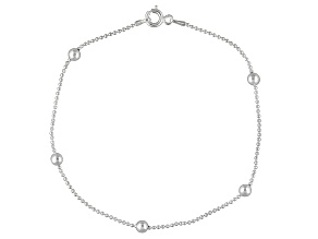 Beaded Station Chain Italian Sterling Silver Anklet