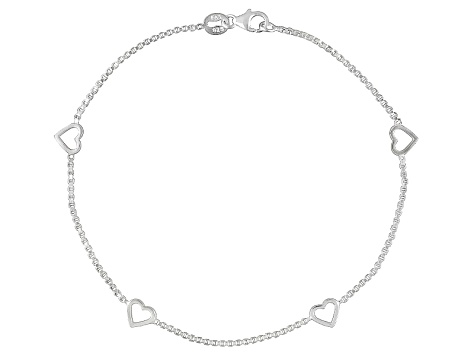 Sterling Silver Box Chain 4-Station Heart Anklet 9 inch