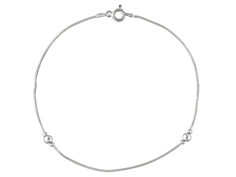 Diamond Cut Bead Snake Chain Italian Sterling Silver Anklet