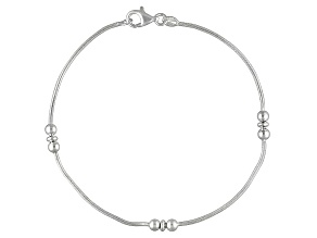 Three Bead Station Snake Chain Italian Sterling Silver Anklet