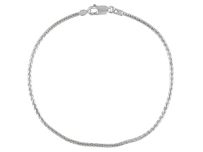 Diamond Cut Wheat Chain Italian Sterling Silver Anklet