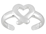 Polished Sterling Silver Heart Design Toe Ring