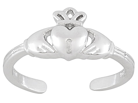 Crown With Heart Polished Sterling Silver Toe Ring