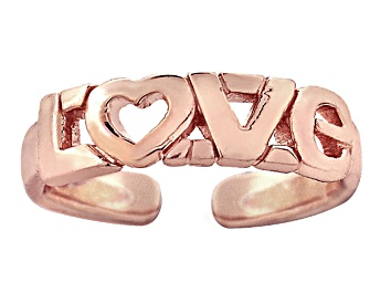 """Picture of 18k Rose Gold Over Sterling Silver """"Love"""" Toe Ring"""