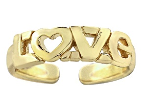 """18k Yellow Gold Over Sterling Silver """"Love"""" Toe Ring"""