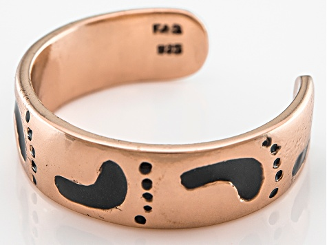 Polished 18k Rose Gold Over Sterling Silver Footprints Toe Ring