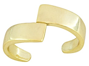 Polished 18k Yellow Gold Over Sterling Silver Bypass Toe Ring